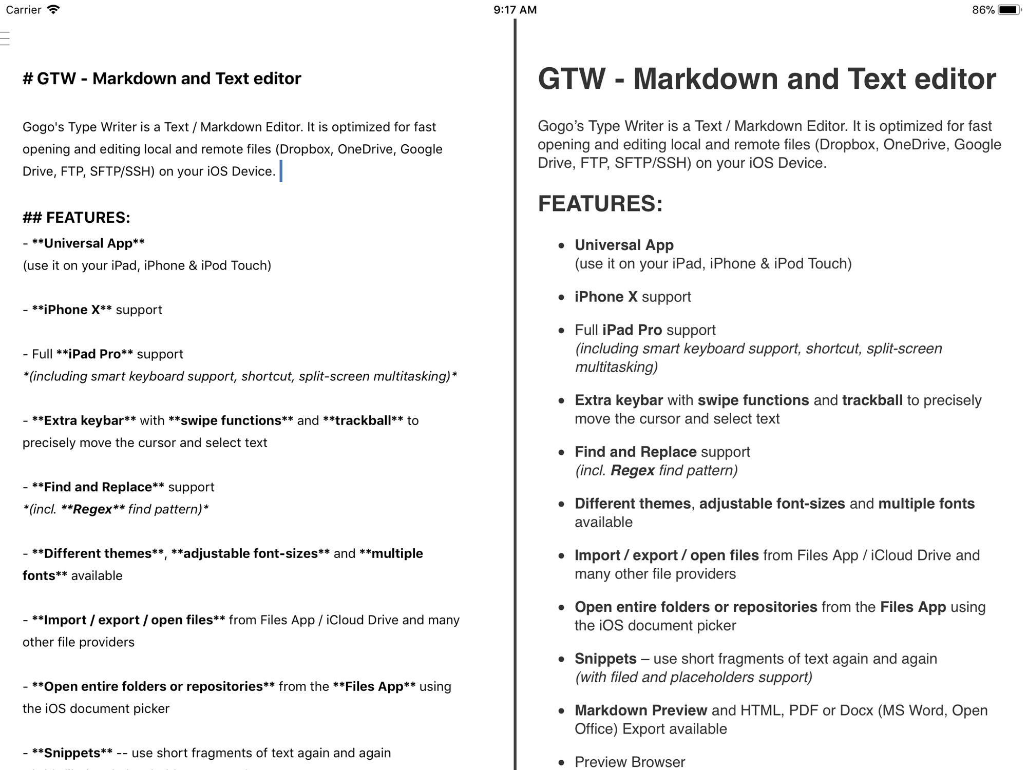 GTW - Markdown and Plain Text Editor for iOS